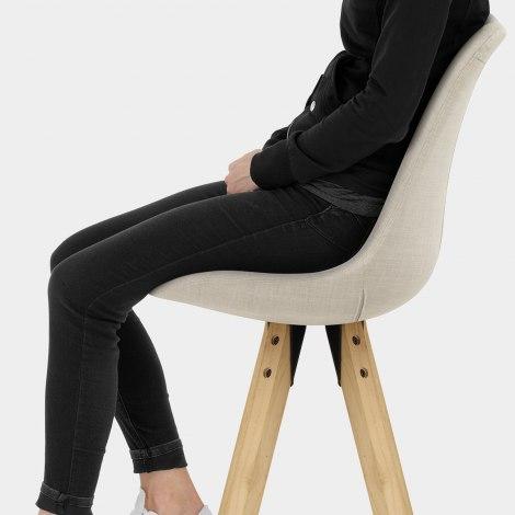 Aero Bar Stool Beige Fabric Seat Image