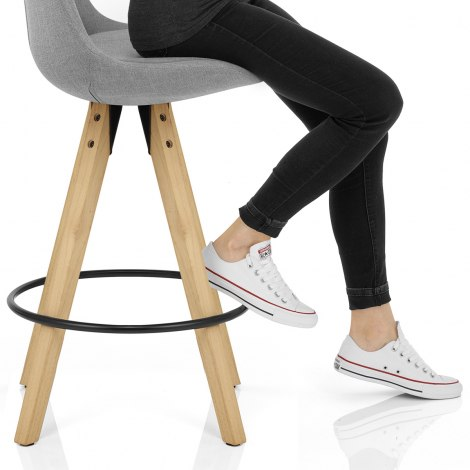 Aero Bar Stool Grey Fabric Seat Image
