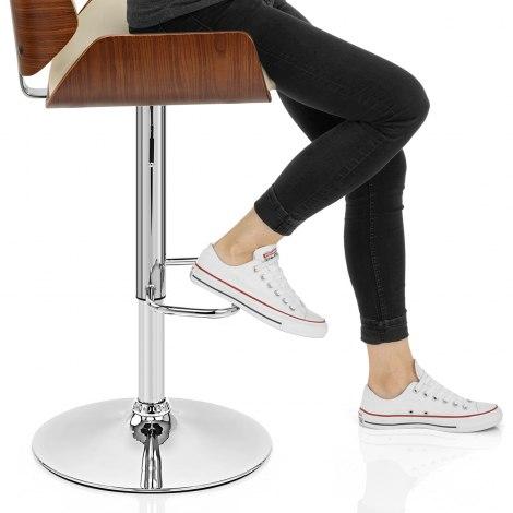 Aldo Walnut Bar Stool Cream Seat Image