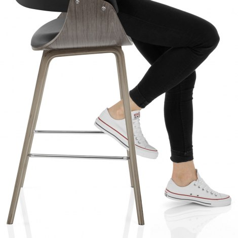 Alexis Wooden Stool Black Seat Image