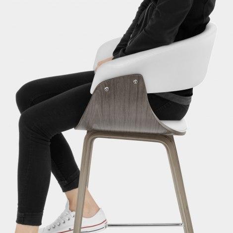Alexis Wooden Stool White Seat Image