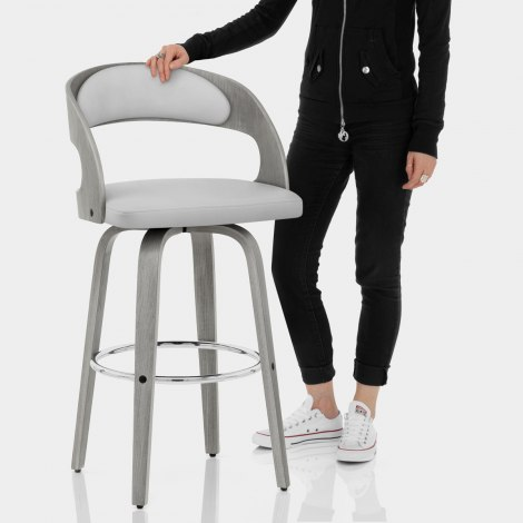 Alicia Grey Wooden Stool Features Image