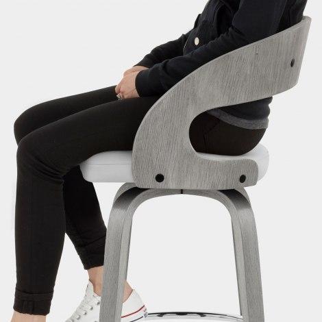 Alicia Grey Wooden Stool Seat Image