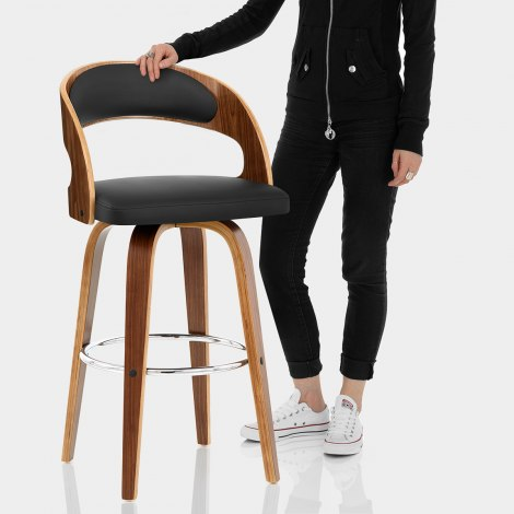 Alicia Walnut Bar Stool Black Features Image