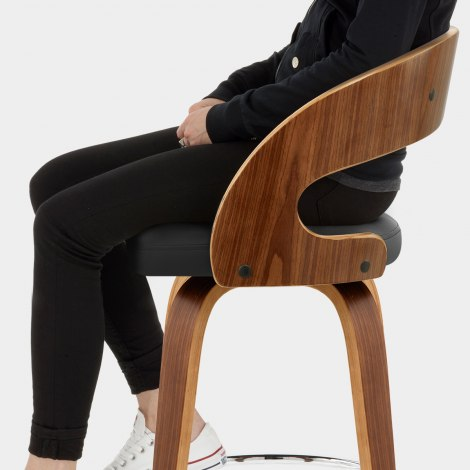 Alicia Walnut Bar Stool Black Seat Image