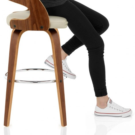 Alicia Walnut Bar Stool Cream Seat Image
