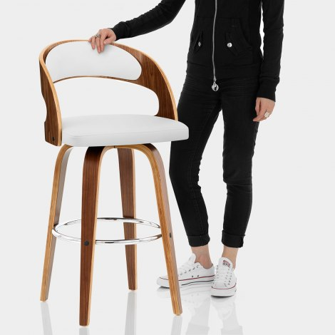 Alicia Walnut Bar Stool White Features Image