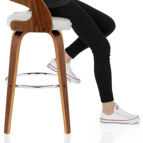 Alicia Walnut Bar Stool White Seat Image