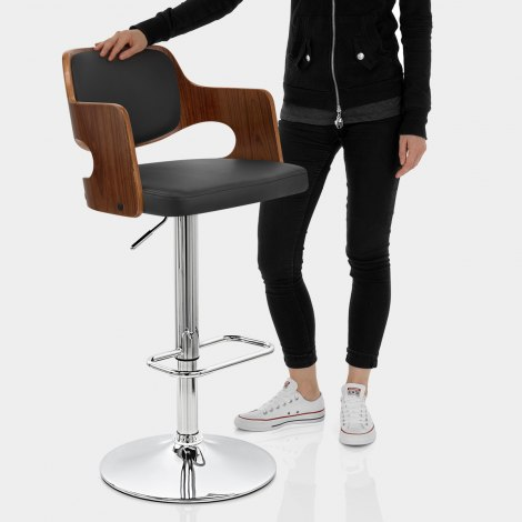 Amazon Walnut Bar Stool Black Features Image