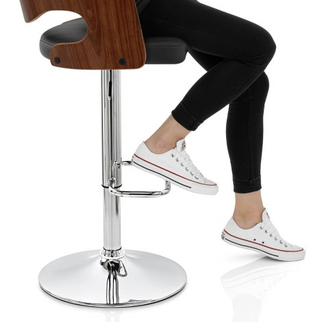 Amazon Walnut Bar Stool Black Seat Image