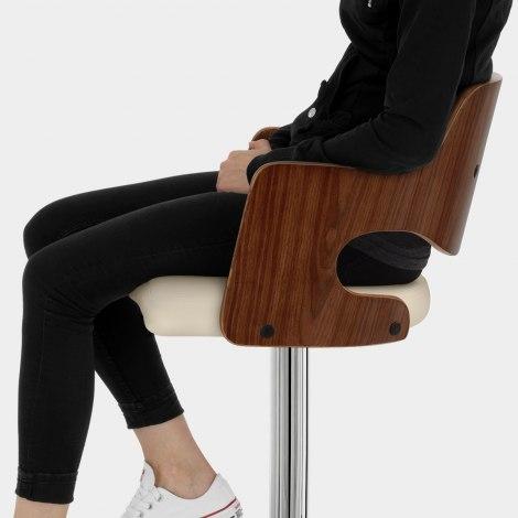Amazon Walnut Bar Stool Cream Seat Image