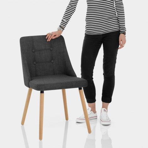 Appleby Dining Chair Charcoal Fabric Features Image
