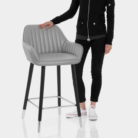 Apres Grande Stool Real Leather Grey Features Image