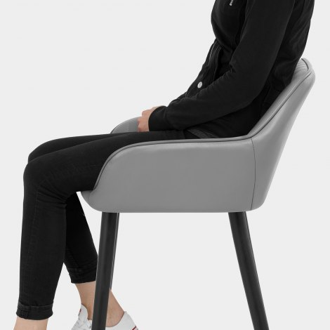 Apres Grande Stool Real Leather Grey Seat Image