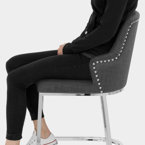 Arden Bar Stool Charcoal Fabric Seat Image