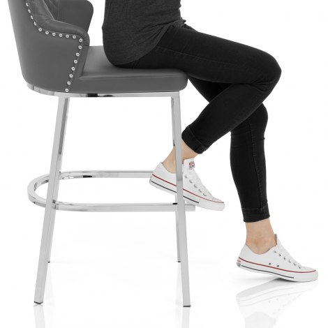 Arden Bar Stool Grey Leather Seat Image