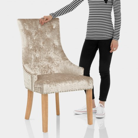 Ascot Oak Dining Chair Beige Velvet Features Image