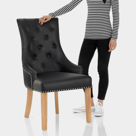 Ascot Oak Dining Chair Black Leather Features Image