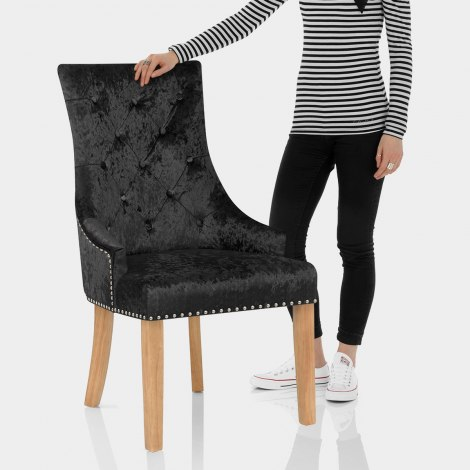 Ascot Oak Dining Chair Black Velvet Features Image