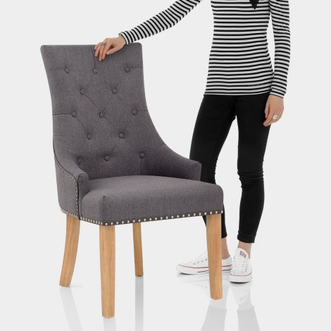Ascot Oak Dining Chair Charcoal Fabric Features Image