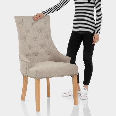Ascot Oak Dining Chair Tweed Fabric Features Image