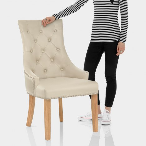 Ascot Oak Dining Chair Cream Leather Features Image