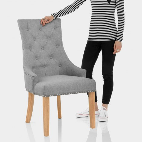 Ascot Oak Dining Chair Grey Fabric Features Image