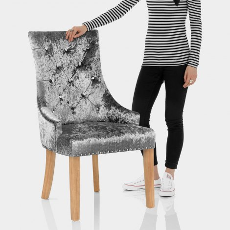 Ascot Oak Dining Chair Grey Velvet Features Image