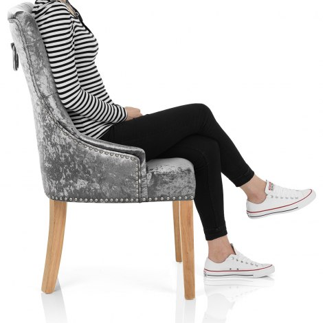 Ascot Oak Dining Chair Grey Velvet Seat Image