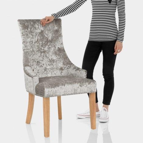 Ascot Oak Dining Chair Mink Velvet Features Image