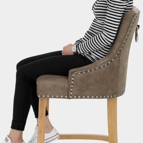Ascot Oak Stool Antique Brown Seat Image