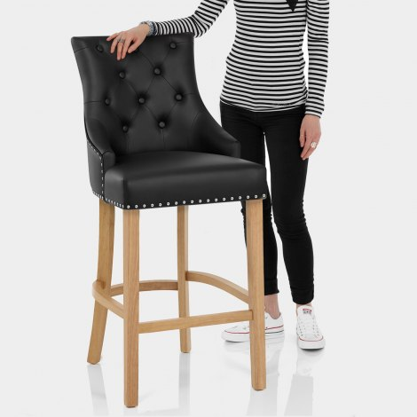 Ascot Oak Stool Black Leather Features Image