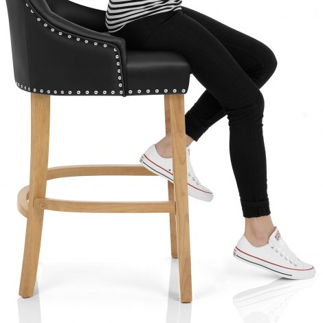 Ascot Oak Stool Black Leather Seat Image
