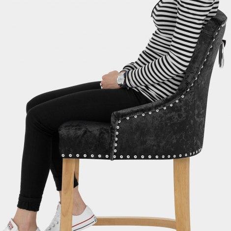 Ascot Oak Stool Black Velvet Seat Image