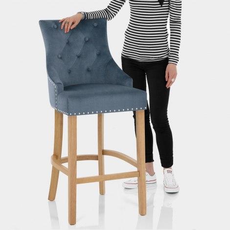 Ascot Oak Stool Blue Fabric Features Image