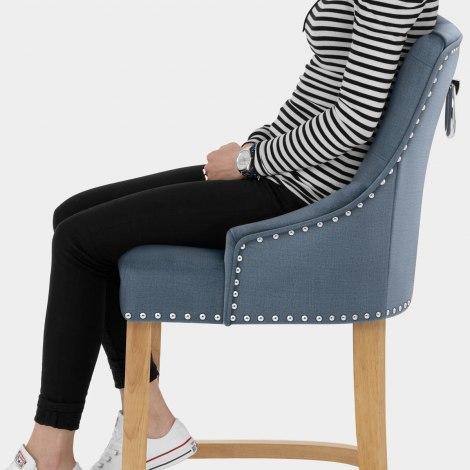 Ascot Oak Stool Blue Fabric Seat Image