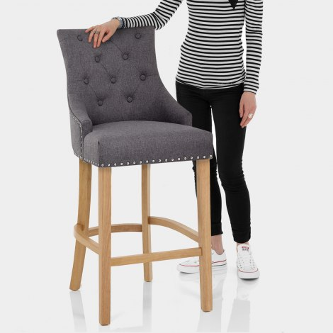 Ascot Oak Stool Charcoal Fabric Features Image