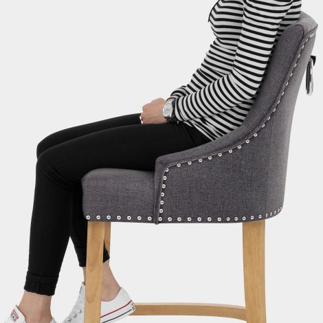 Ascot Oak Stool Charcoal Fabric Seat Image