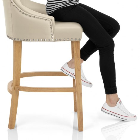 Ascot Oak Stool Cream Leather Seat Image
