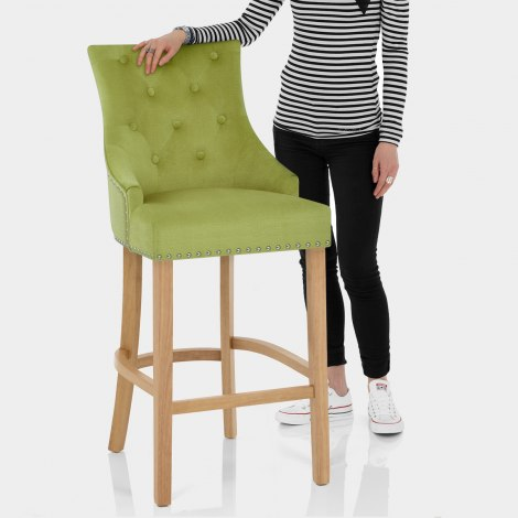 Ascot Oak Stool Green Fabric Features Image