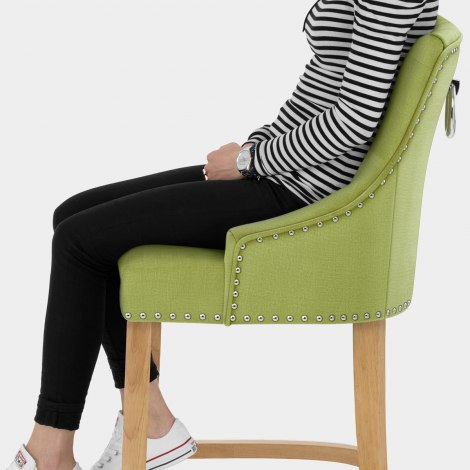 Ascot Oak Stool Green Fabric Seat Image