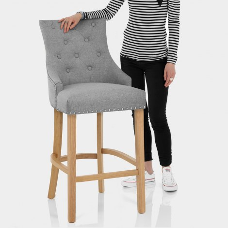 Ascot Oak Stool Grey Fabric Features Image