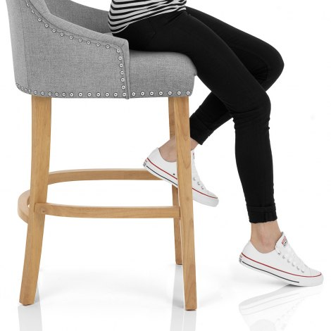 Ascot Oak Stool Grey Fabric Seat Image