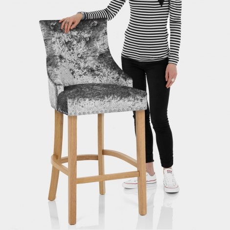 Ascot Oak Stool Grey Velvet Features Image