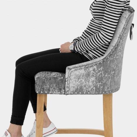 Ascot Oak Stool Grey Velvet Seat Image