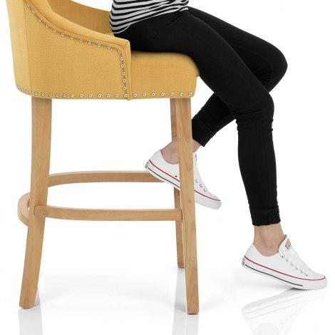 Ascot Oak Stool Mustard Fabric Seat Image