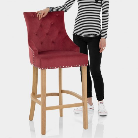 Ascot Oak Stool Red Fabric Features Image