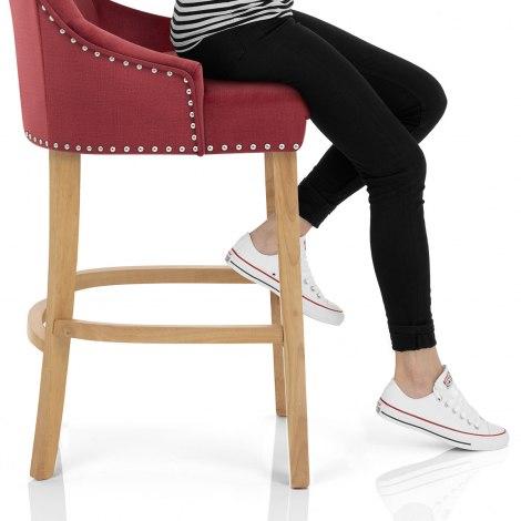 Ascot Oak Stool Red Fabric Seat Image