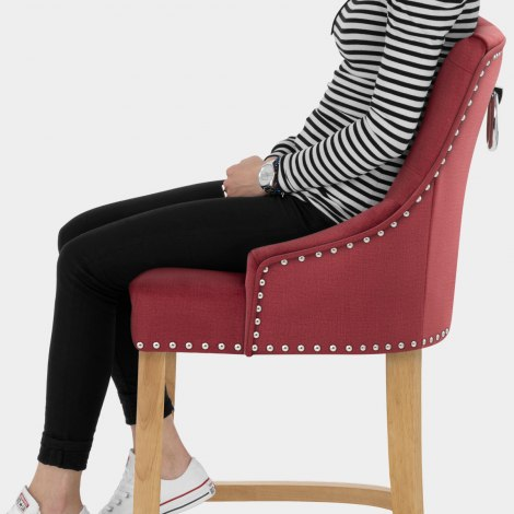 Ascot Oak Stool Red Fabric Seat Image