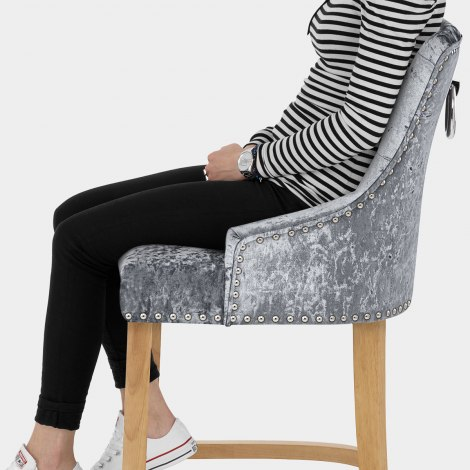 Ascot Oak Stool Steel Grey Velvet Seat Image